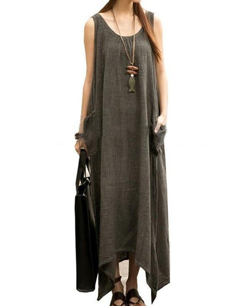 Plus Size Crew Neck Sleeveless Linen Solid Maxi Dress