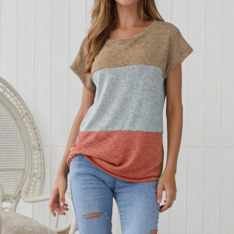 Casual Round Neck Short Sleeve Splicing Contrast Color T-Shirt