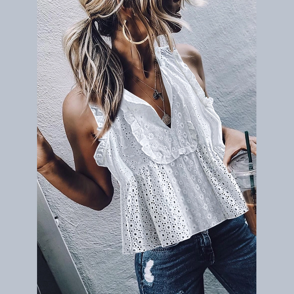 Boho Lacework V Neck Pure Colour Hollow Out Tank Top