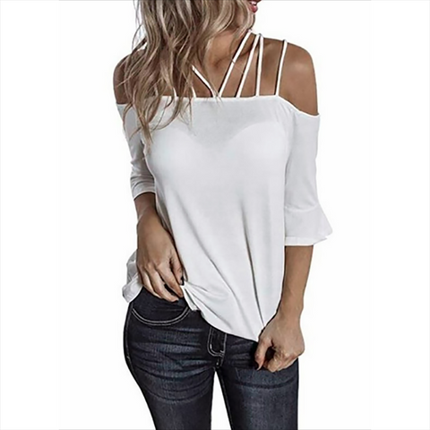 Casual Boat Neck Bare Back Off-Shoulder Pure Colour T-Shirt