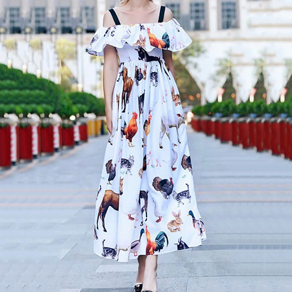 Sexy Animal Pattern  Sleeveless Bare Back Maxi Dress