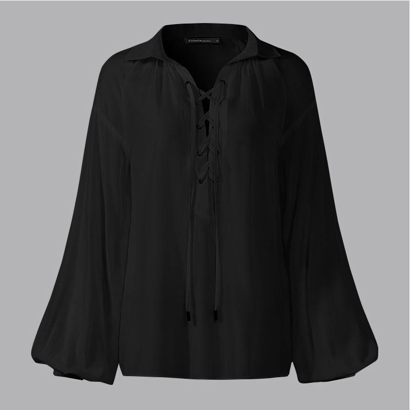 Lace Up Women Blouses Celmia Autumn Long Lantern Sleeve Casual Shirts Loose Lapel Tunic Tops Elegant Blusas