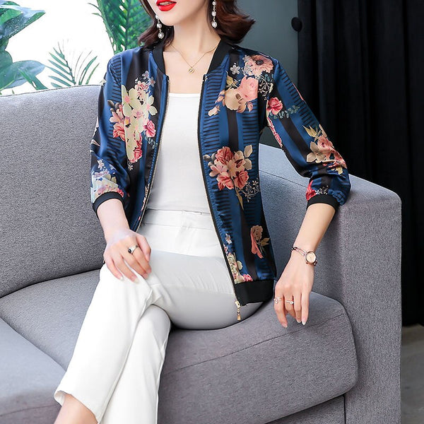 2020 Floral Printed Sun Protect Plus Size Faux Silk Short Female Coat Zipper Chaqueta Long Sleeve Bomber Jackets