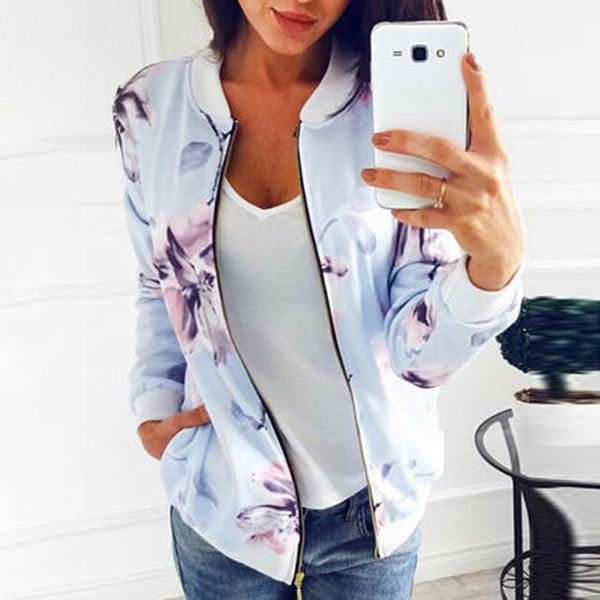 2020 Floral Printed Women  Women's Jackets Plus Size Short Female Coat Zipper Chaqueta Long Sleeve Women BomberJackets