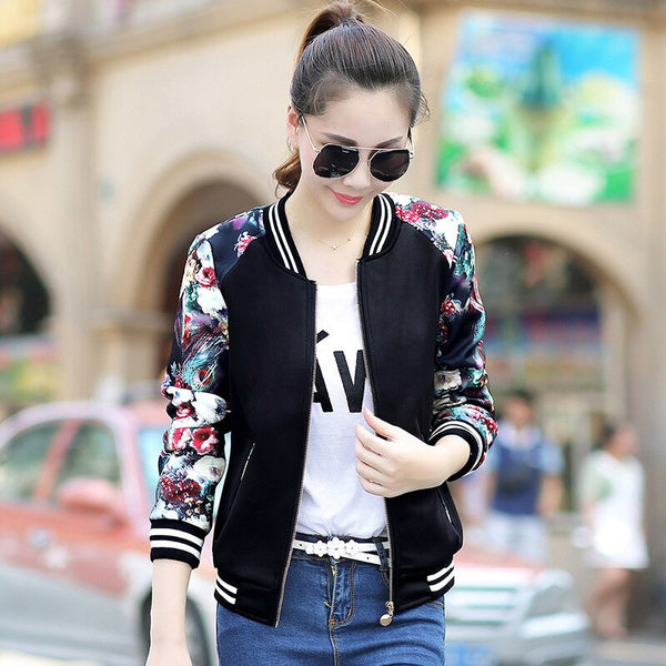 2020 Women's Bomber Print Jacket Long Sleeve Basic Jacket Coats Women Casual Thin Slim Female Jackets Clothes Jackets