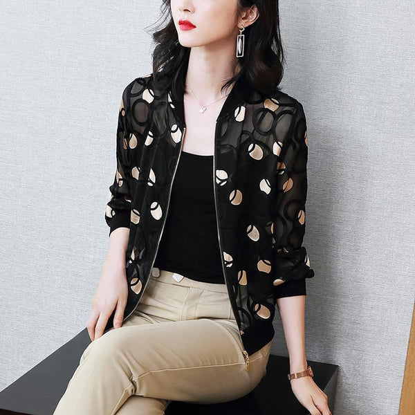 2020 New Spring Autumn Middle Age Women Bomber Baseball Jacket Female Sun Protect Polka Dot Coat Outwear Jackets