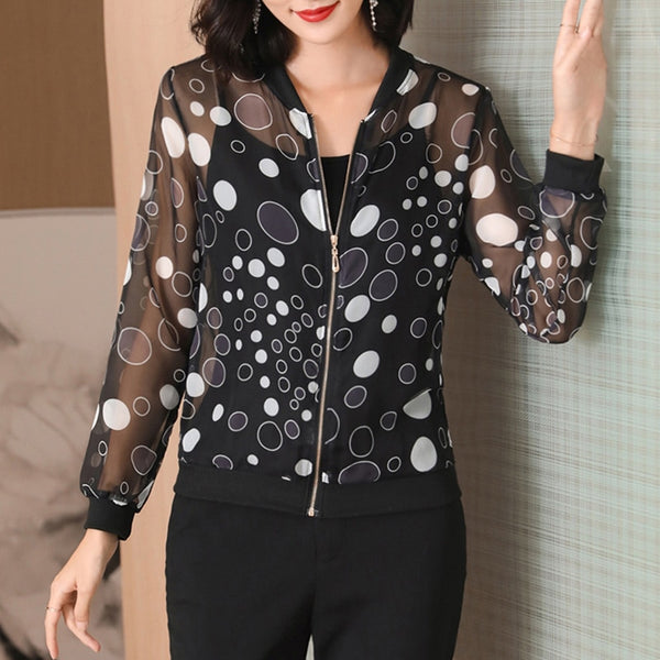 2020 Summer Lace Jacket Women Print Basic Jacket Thin Long Sleeve Casual Bomber Silm Jacket Sunscreen Outwear Jackets