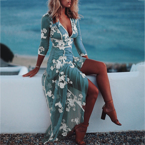 2020 Embroidered Flowers Deep V Dress Sexy Lace Gauze Long Sleeve Dress Casual Elegant Beach Party Long Dresses