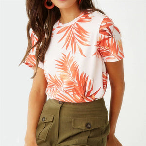 2020 Summer Women Beach Print Casual Short Sleeve T shirt