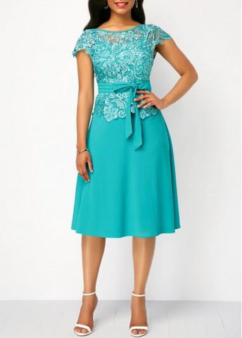 Lace Panel Cyan Cap Sleeve Dress