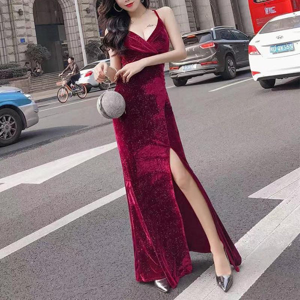 Sexy Deep V Slit Pure Colour Slim Evening Dress