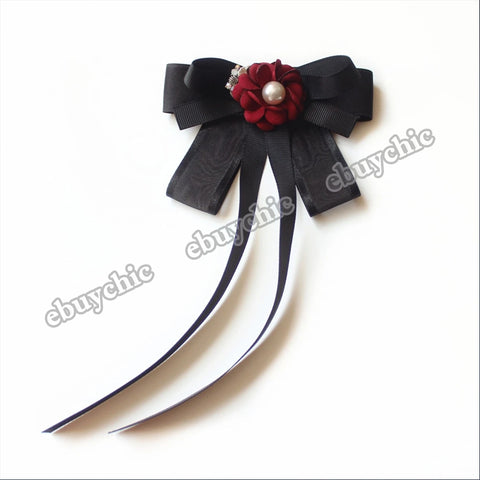 Fashion New Cute Girl Uniform Shirt Bow Tie Handmade Fabric Red Flower Student Business Long Bow Tie