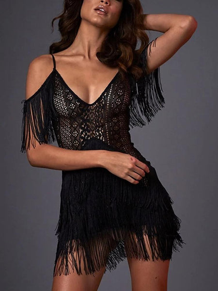 Fashion strap solid color fringed evening dress