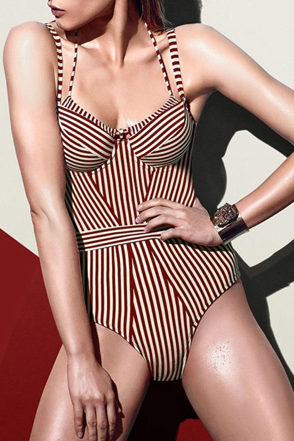 Sexy bikini striped Hard Package One-piece Swimsuit