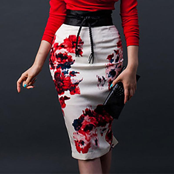 Fashion High-Waist Printed Colour Skirt