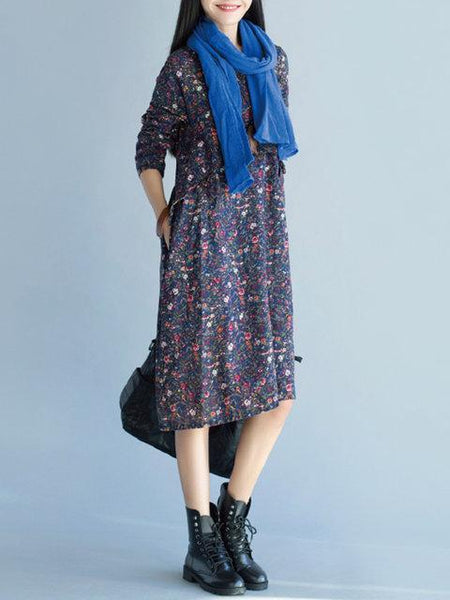 Women Navy Blue Cocoon Daytime Long Sleeve Linen Casual Printed Floral Dress