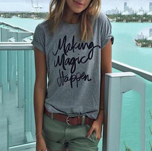 Round Neck  Loose Fitting  Letters T-Shirts