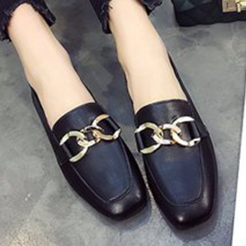 Black Square Toe Slip On Flat Loafers
