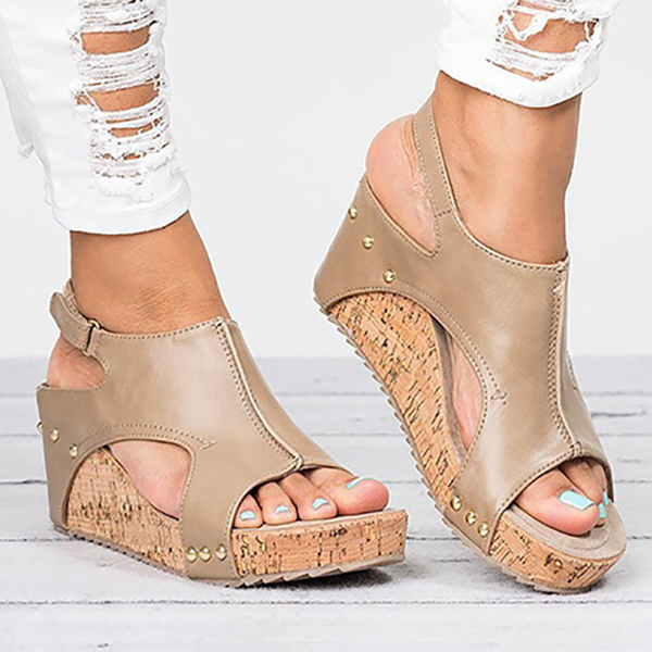 Plus Size Open Toe Wedge Sandals
