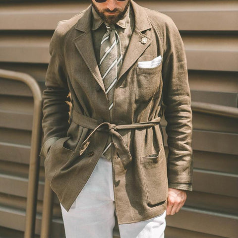 Man's Vintage Lace-Up Pure Colour Coat