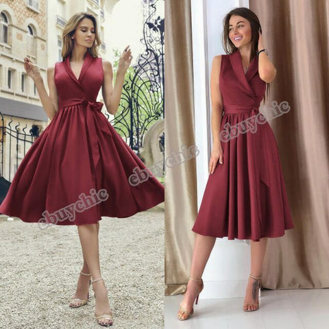 Spring New Popular Deep V Waist Sleeveless Big Swing Dress