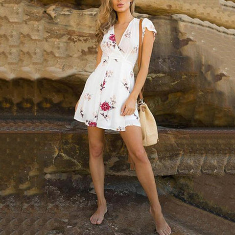 Deep V Neck  Floral Printed  Extra Short Sleeve Casual Dresses