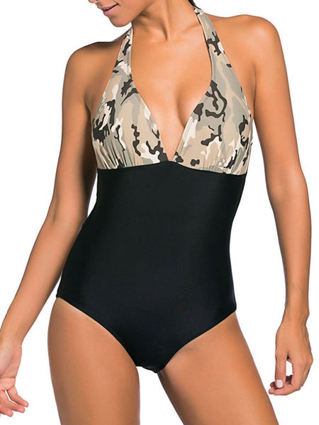 Gracybee Halter  Camouflage Backless One Piece