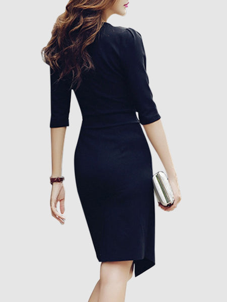 V-Neck  Asymmetric Hem  Plain Bodycon Dress