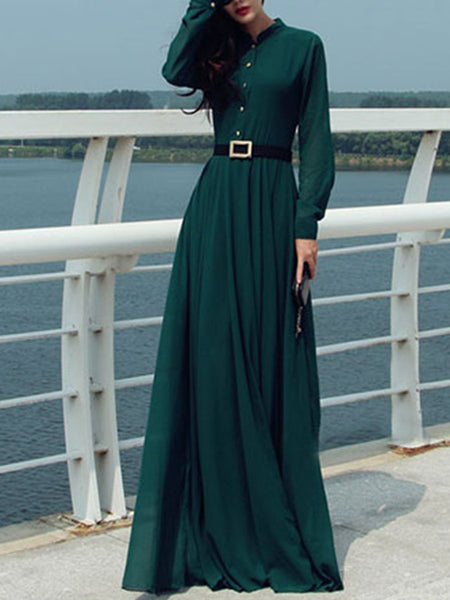 Band Collar Maxi Dress
