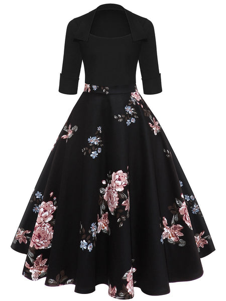 Courtly Floral Printed Midi Skater Dress