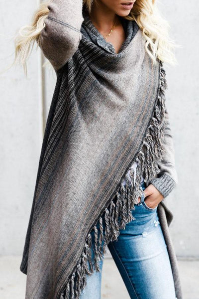 Scarf Neck Patchwork Striped Cardigans