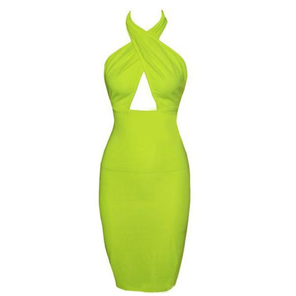 Ms. New Sexy Halter Halter Solid Color Pack Hip Dress