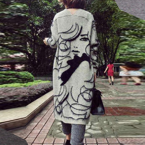 Long Sleeve Collarless  Jacquard Cardigans
