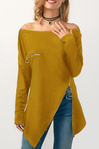 Off Shoulder  Asymmetric Hem Zipper  Patchwork Blouses