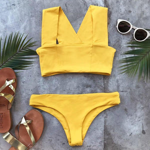 Yellow Solid-Color Swimwear