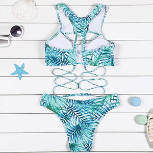 Printed Sexy Hollow Bikini Set