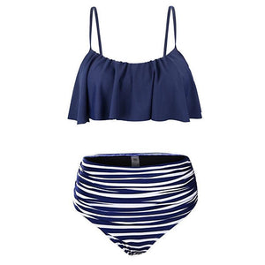 High Waist Ruffle Halter Swimwear