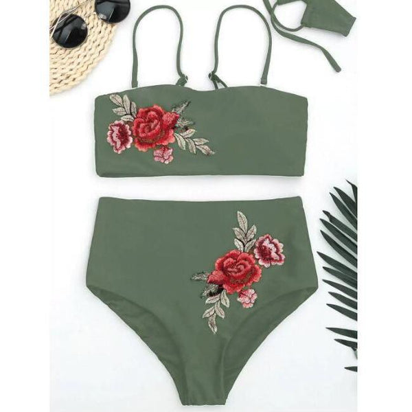 Embroidery Applique With A Bikini Top