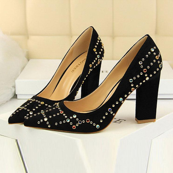 Colored Diamond Sequins High Heels Shoes