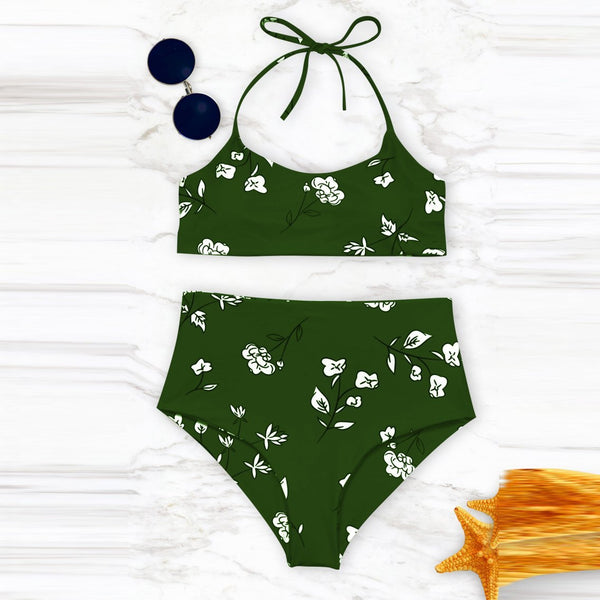 High Waist Lovely Floral Printed Swimwear