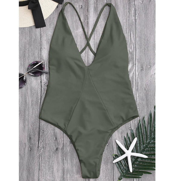 Deep V Collar Solid Color One-Piece Suit
