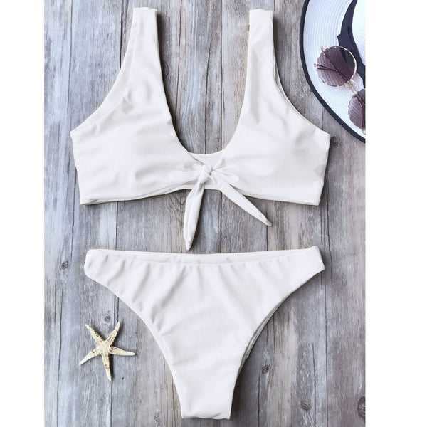 A Two-Piece Bathing Suit With A Solid Color Chest