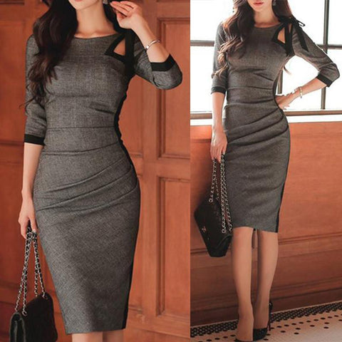Tie Collar  Plain Bodycon Dress