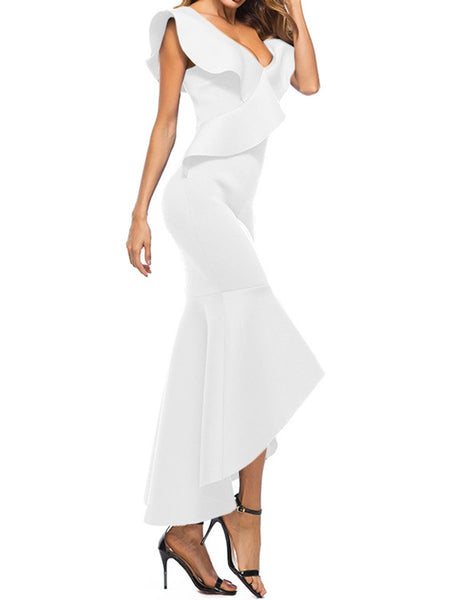 Deep V-Neck Flounce Plain High-Low Mermaid Evening Dress