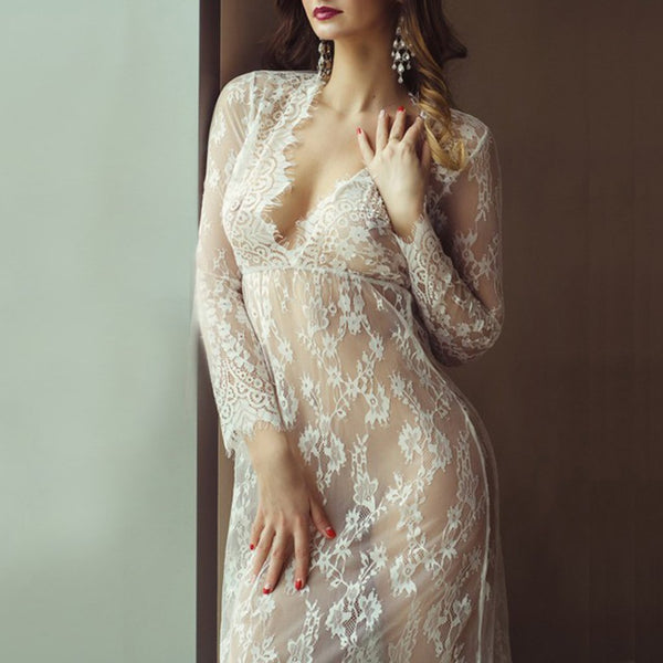 Sexy See Through Hollow Out Plus Size Evening Dress