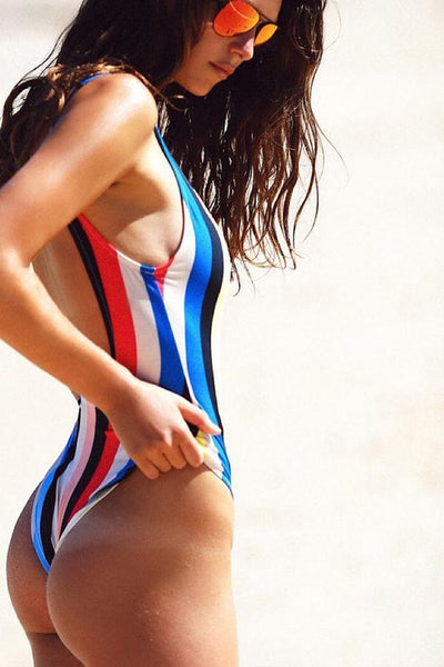 Scoop Neck  Stripes One Piece