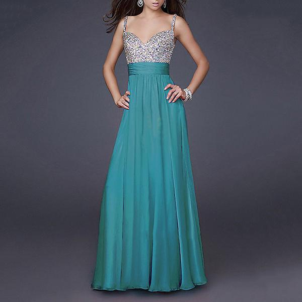 Deep V-Neck Sling Sequined Maxi Evening Dress