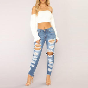 Elegant Casual Pure Color Denim Ripped Jeans