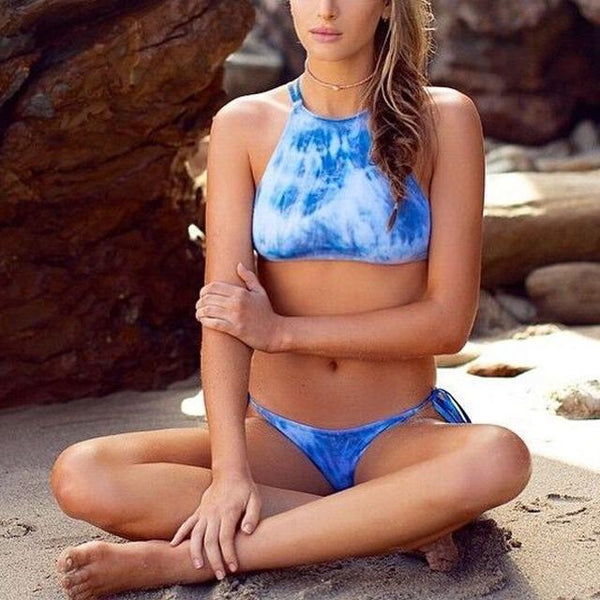 Sexy Straps Blue Denim Bikini Swimwear