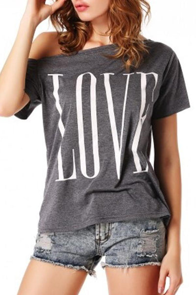 One Shoulder  Loose Fitting  Letters Plain T-Shirts